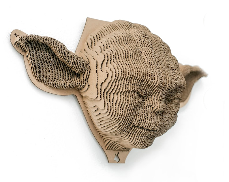 Yoda  mask for self-assembly made of ecological cardboard. 3D image 0