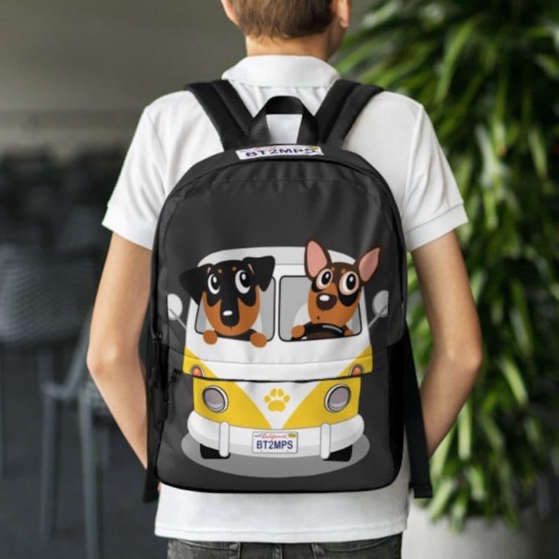 Dog Min Pin Brothers Driving Volkswagen Bus VW Backpack Back to School Custom School Bag Miniature Pinscher
