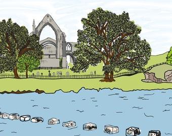 Beautiful A4 Bolton Abbey Art Print - Yorkshire Series - Art Gift - Landscape