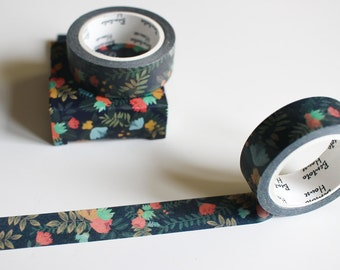 Black floral washi tape, flower washi tape, pretty nature cute washi tape (FL-106-BB)