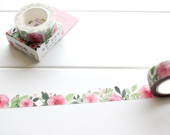 Pink Flower Washi Tape, Floral Washi Tape, Pink Pretty Watercolour Masking Tape (FL-115-IF)