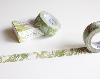 Bamboo Washi Tape, Nature Plants Leaf Tape, Green Washi Tape, Pretty Watercolour Tape (NT-100-CD)