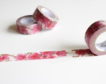 Pink Flower Washi Tape, Floral Washi Tape, Pink Pretty Watercolour Masking Tape (FL-108)