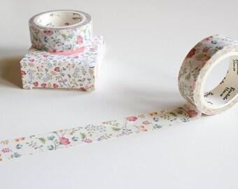 Floral Washi Tape, Flower Washi Tape,  Pretty Washi Tape, Leaf Washi Tape, Nature Washi, Planner Supplies (FL-104-BB)