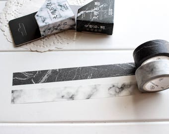 Marble Washi Tape, White Black Washi Tape, Monochrome Minimalist Planner Tape Stickers (GM-107, GM-108)