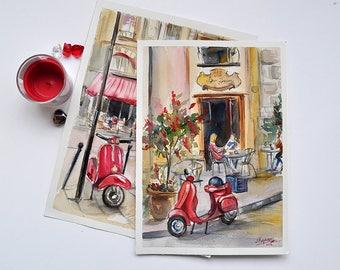 Red moped near a street cafe. Digital Print, Instant Digital Print. Watercolor. Printable Art download. Digital download art.