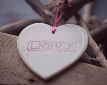 LOVE ~ Ceramic Heart Plaque ~ Hanging Sign ~ Handmade ~ Home Decor ~ Gift