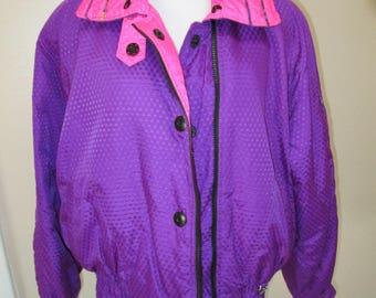 OBERMEYER True Vintage 80 s Women Hot Pink Purple    Light Ski Parka Short Coat  Jacket Woman 10 a9682f629