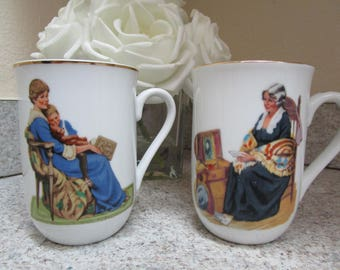 Set of Two Vintage Norman Rockwell Coffee Mugs / 1986 Museum Collections, Inc / Bedtime & Memories