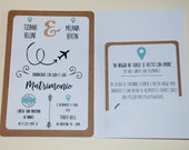 Partecipazione matrimonio a forma di passaporto tema viaggio