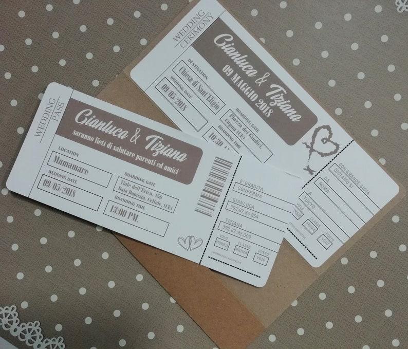 Partecipazioni Matrimonio Biglietto Aereo.Partecipazioni Di Nozze Biglietto Aereo Etsy
