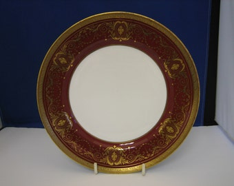 Aynsley, ruby and gold bone china side/salad plate