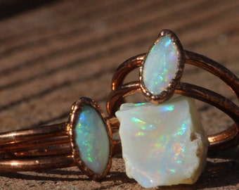 Opal Ring with Decorative band // Genuine Australian Opal Ring // Electroformed Copper Jewelry // Crystal Ring