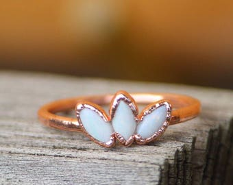 Lotus Flower Opal Ring // Electroformed Copper Jewelry