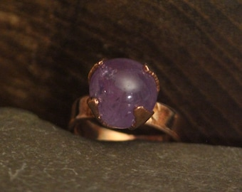 Amethyst Sphere Copper Ring // Crystal Ball Ring // Copper Electroformed Jewelry