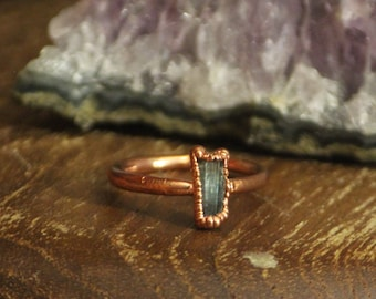 Blue Tourmaline Crystal Ring // Copper Electroformed Jewelry // Raw Stone Ring // Tourmalinne Crystal Jewelry