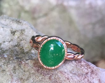 Copper Jade Ring // Electroformed Copper Jewelry // Jade Jewelry
