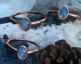 Opal Ring // Opal Triplet Ring // Electroformed Copper Jewelry // Simple Stacker Rings