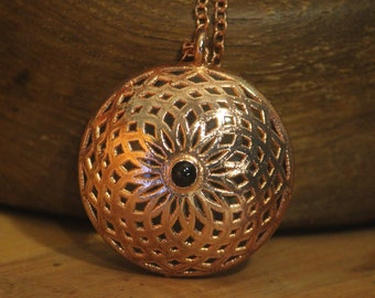 Copper Reticello with Black Opal over glass // Sacred Geometry Pendant // Electroformed Copper Jewelry