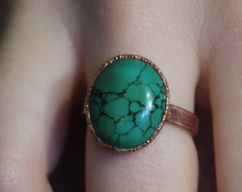 Tibetan Turquoise Ring // Copper Electroformed Jewelry