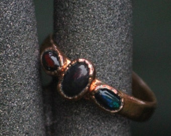 Triple Black Opal Ring on flat band // Electroformed Copper Jewelry // Handcrafted Opal Ring