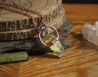 Golden Apatite with Ammolite accent // Raw Crystal Pendant // Electroformed Copper Jewelry //