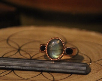 Labradorite and Black Opal Ring // Copper Crystal Ring  // Electroformed Jewelry