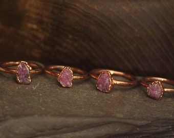Raw Ruby Ring // Copper Electroformed Jewlery // Raw Stone Rings