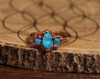 Triple Raw Turquoise Ring // Copper Electroformed Jewelry // Raw Stone Ring