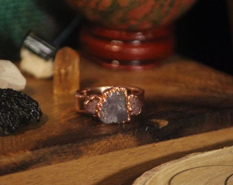 Raw Tanzanite and Tourmaline Ring // Electroformed Copper Jewelry // Raw Crystal Ring