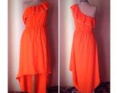Greek Goddess, Aphrodite, cold shoulder fluo orange 90 39 s vintage long dress, very impressive asymmetrical summer dress. Mint Condition