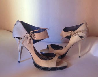 b0691c90c78 Beige   blue ankle strap high heel sandals with zip closure