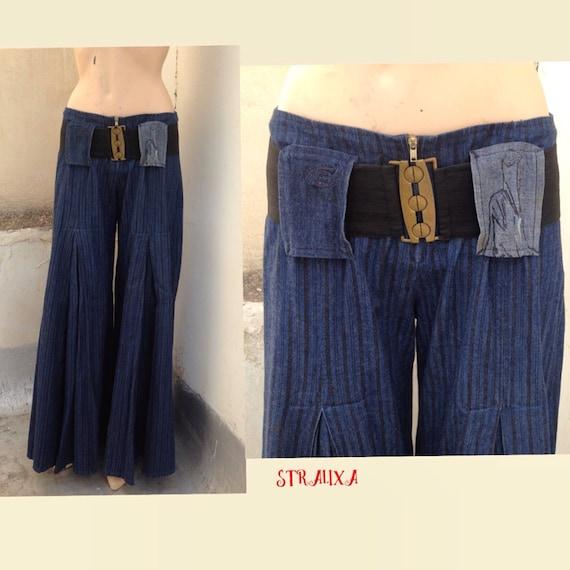 Wide leg striped pleated denim pants, in gaucho st