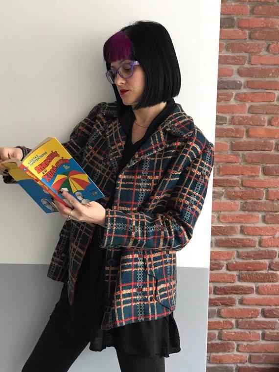 Stunning women's woolen checkered tweed boucle te… - image 9