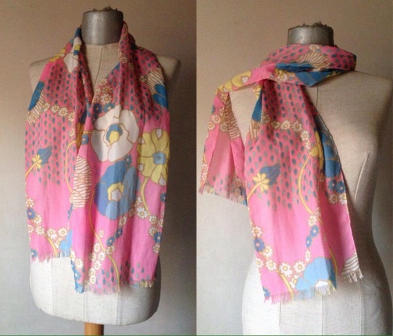 70's powder pink and baby blue scarf with bold, co
