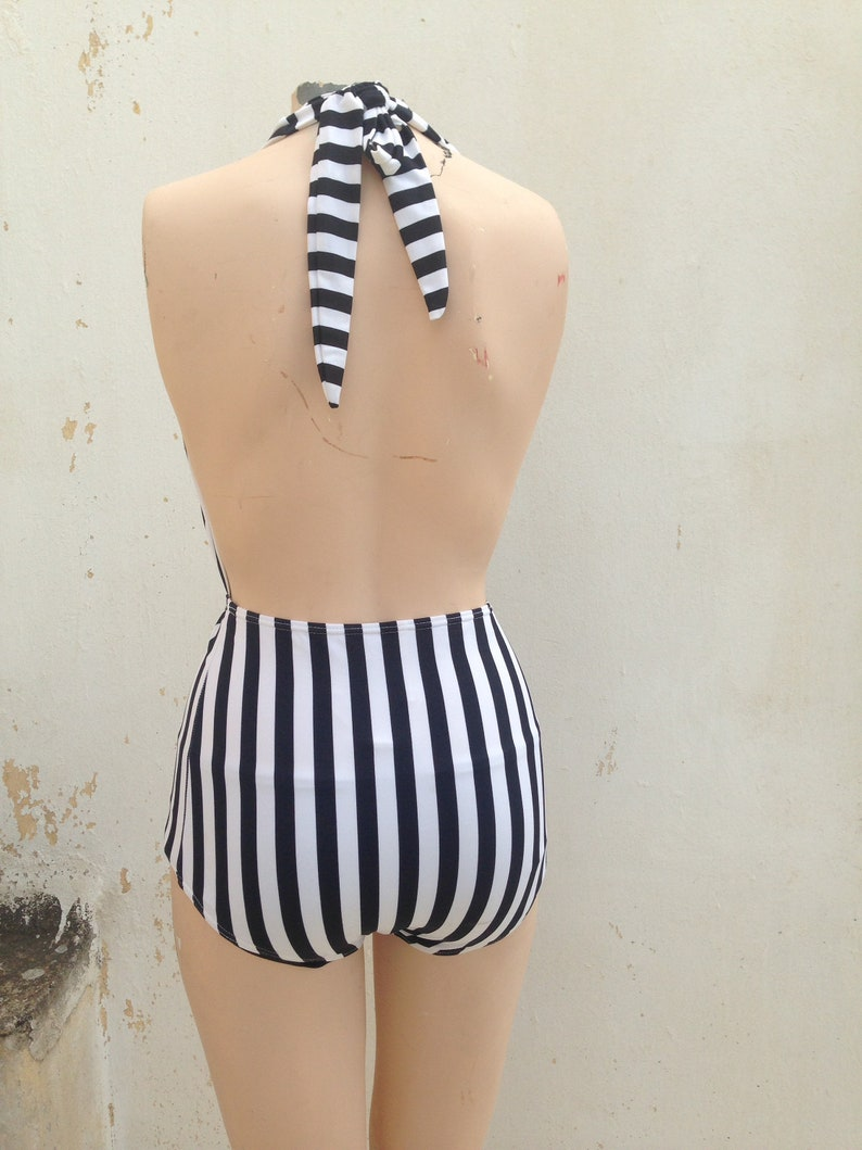 Navy style one piece black and white striped retro swimsuit high waisted 90s does 50s vintage pin-up backless swimwear