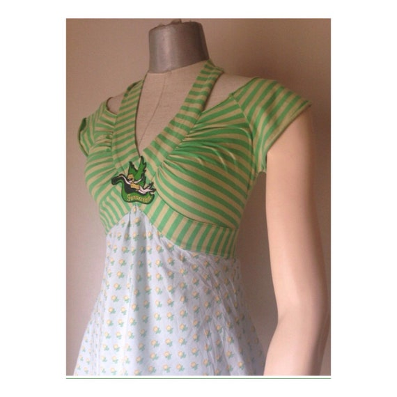 vintage Contemporary high summer 90s waisted top Amazing striped top FORNARINA cool green two fabrics different top halter wqYOgX4