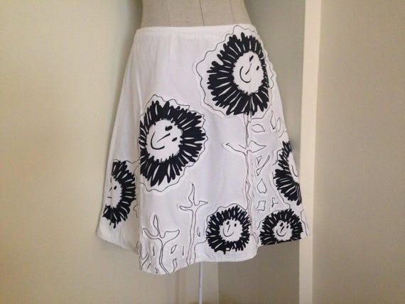 DESIGUAL white A-line skirt/Black & white summer c
