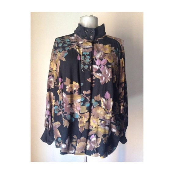 Black brown 80s loose blouse with bold floral patt