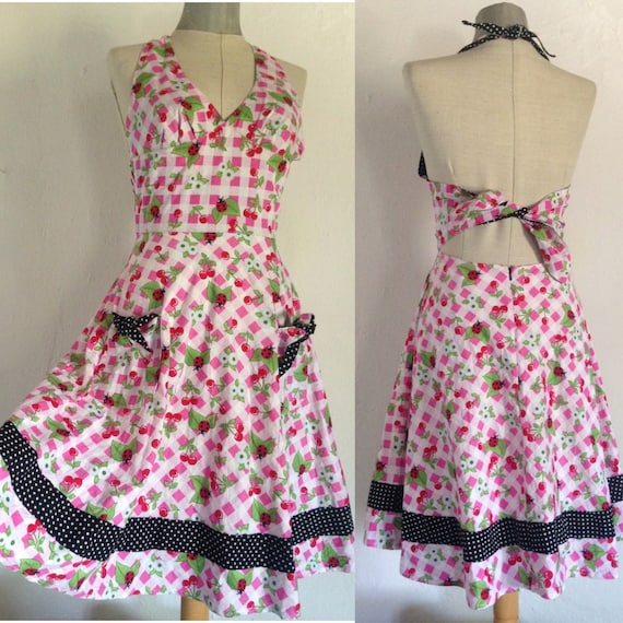 ladybugs swing 50 styled lovely dress with cherries checkered /& polka dot pattern pin up Rockabilly