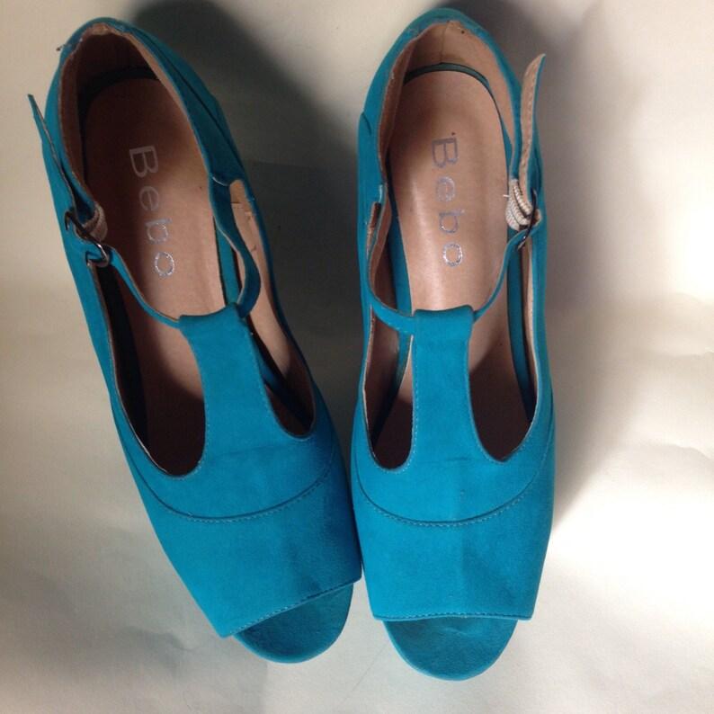 2647bde140c24 Turquoise heelless suede T-strap open toe platform sandals. Horse shoe  style extreme, eccentric blue shoes Size 40.5 Eur-
