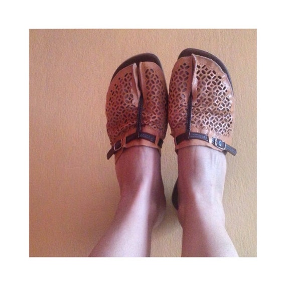 super slides strap vintage flat 90s beige style flops sandals separated in Indian toe stylish flip flat leather brown Novelty T Bohemian xfOzvq