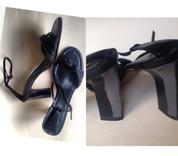 price reduced discount great fit Black Nine West high heeled sandals with ankle strap closure and two tone  heels: Gray & black