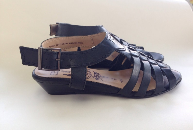 c254a73f8aa Gladiator Wedge Sandals leather tie ups Medium heeled black