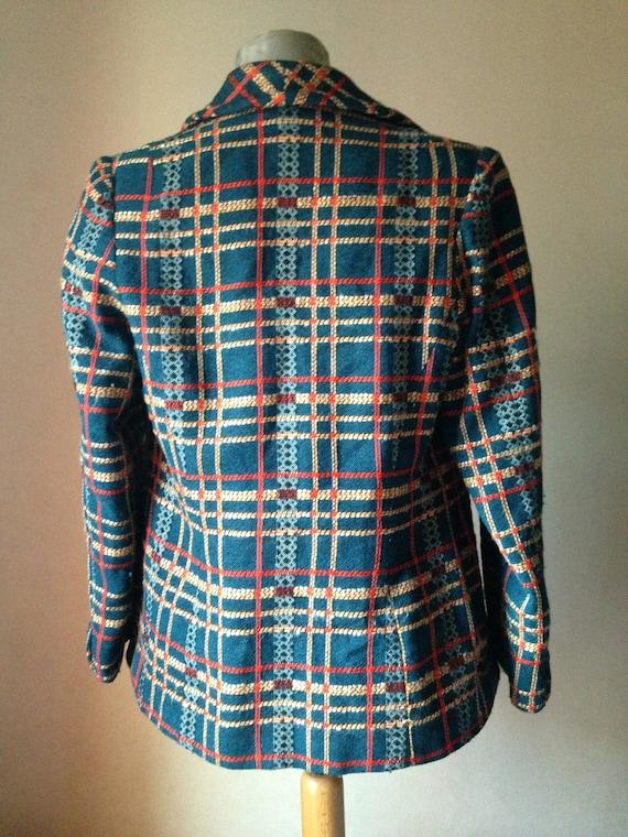 Stunning women's woolen checkered tweed boucle te… - image 8