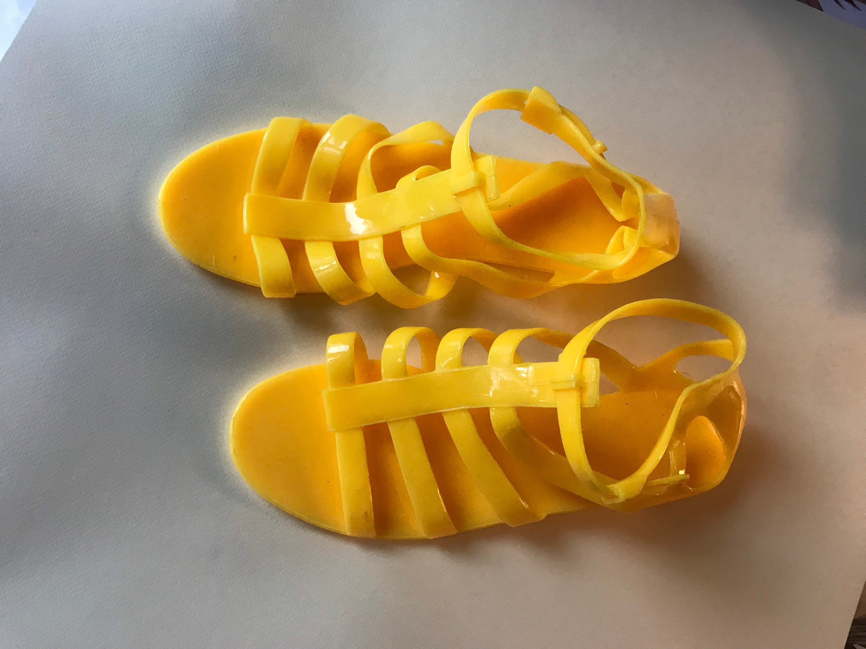 EUR 37-38  7 USA   5 UK Yellow gladiator jelly ankle sandals Size