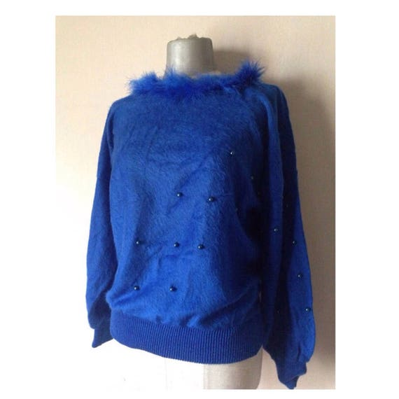 Electric blue 80s angora fluffy sweater with boa f