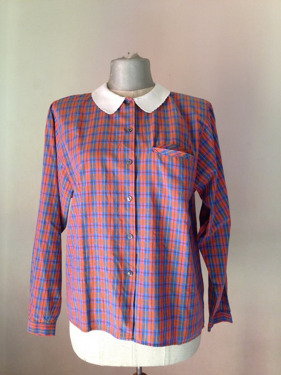 Old school 80s vintage blue/red gingham buttoned s