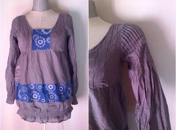 high quality entire collection 100% top quality Desigual blau-grau Folklore Stil der 90er Jahre tut 70er Jahre Vintage Bluse