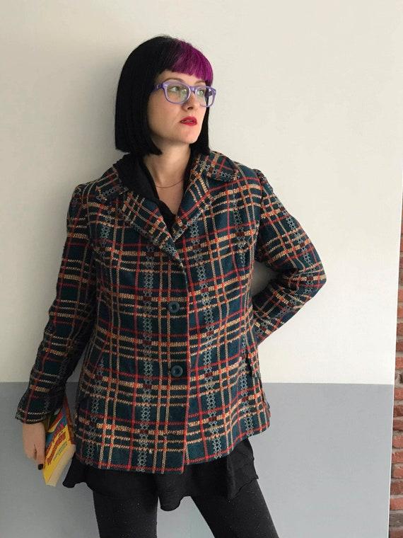 Stunning women's woolen checkered tweed boucle te… - image 5